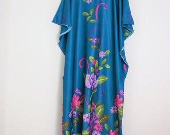 Vintage 90's Off Blue Teal Flowery Print Maxi Batwing Dress One size