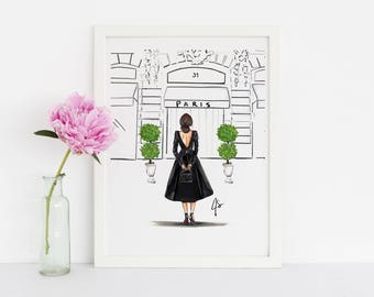 The Boutique (Fashion Illustration Print) (Available in different Hair colors and skin tones)