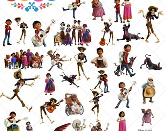 33 Coco Clipart, Disney Coco Movie, coco png, images, clipart vector file, digital, files, instant download + Coco font FREE, Coco alphabet