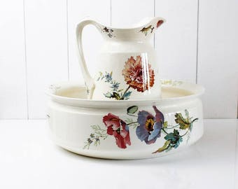 Delightful Antique Wash Basin And Pitcher, Villeroy And Boch, Pitcher And Basin Set,  Ceramic