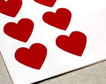 108 Mini Red Heart Envelope Seals - .75-inch Heart Labels - 3/4 inch Heart Labels