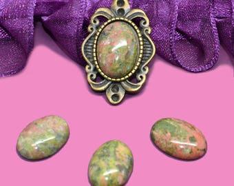 Cabochon gemstone 14 x 10 unakite