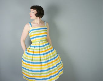 STRIPED 50s sun dress with belt - Orange, yellow, green and blue stripes - STRAPPY full skirted 1950s dress - S