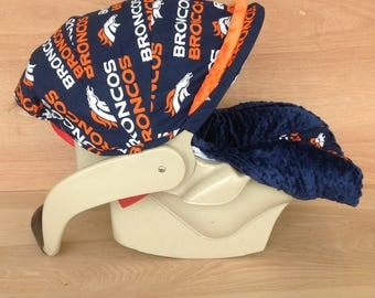 Infant Car Seat Cover- Broncos / Navy