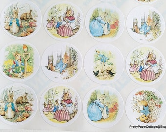 Peter Rabbit, Sticker Sheet, Baby Shower, Birthday, Thank You, Personalized, Stickers, Labels, Beatrix Potter, (30) 1.5 inch or (20) 2 inch