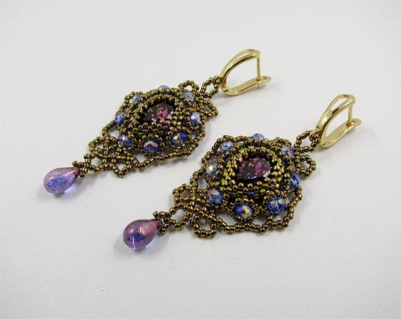 Chandelier beaded earrings Braided amethyst cabochon