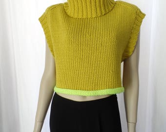 vintage OVERSIZED Citron and Day Glo yellow giant funnel neck sleevless  sweater vest: sized Small- fits oversized 6/8/10 US