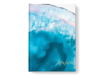 Marble Stone Personalized Journal, Blue Marbled Stone Pattern, Personalized Journals for Women, Gift jn0013