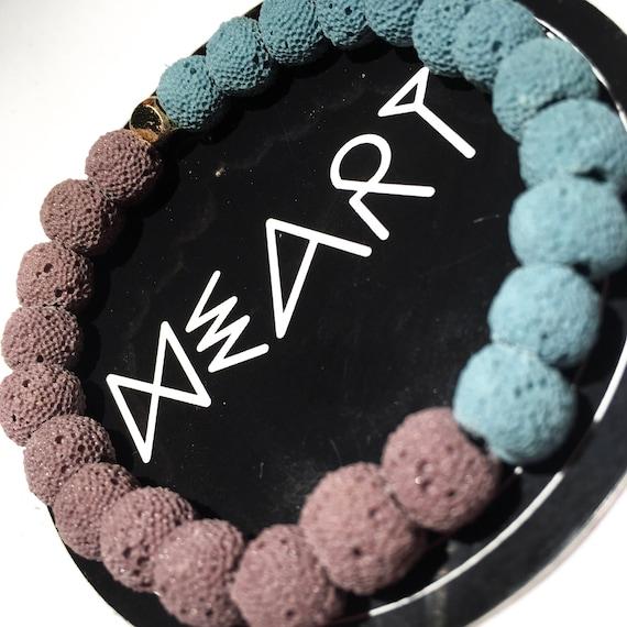 Eclipse Two Tone Purple & Blue Raw Lava Stone Oil Diffuser Beaded Bracelet, Aroma Therapy, Mala, Yoga, Meditation, Unisex, Men, Women