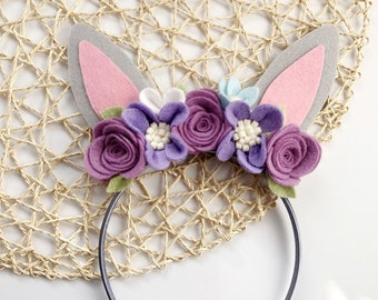 Bunny Ears, Bunny Headband, Rabbit Ears, Easter Headband, Flower Headband, Felt Bunny Ears