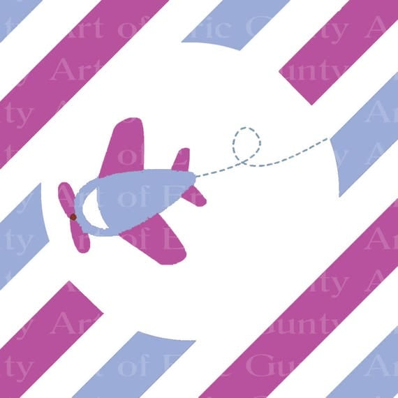 Purple & Blue Airplane Birthday - Edible Cake and Cupcake Topper For Birthday's and Parties! - D22739