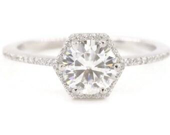 Forever One Moissanite Ring, Hexagon ring, Geometric Diamond Ring
