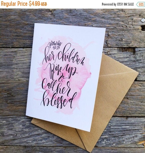 ON SALE Scripture Mother's Day card, proverbs 31 woman, her children rise up and call her blessed, watercolor card for mom