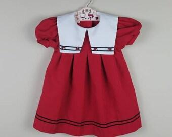 3T Vintage Toddler sailor dress red 1980s 80s