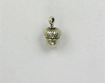 Sterling Silver 3-D Acorn Charm