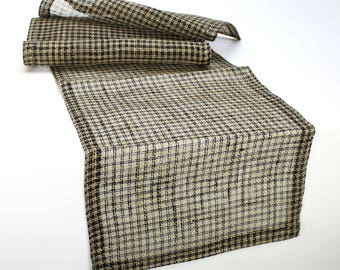 Plaid Burlap Table Runner 14x72 inches in Black & Natural Color (XJM-R20)