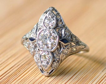Edwardian Platinum Diamond Ring - Art Deco, Art Nouveau, Filigree Ring, Engagement Ring, Sapphire, Size 7.5, Circa 1900, Vintage