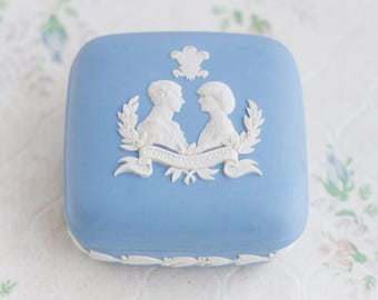 Diana and Prince Charles - Square Jewelry Box - Wedgwood Blue - Made in England - Royal Wedding July 1981