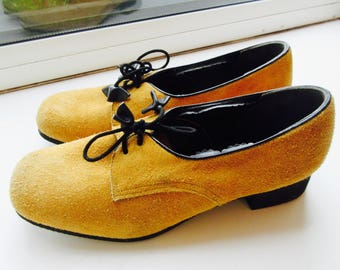 Vintage 'Richard Draper Of Glastonbury' Mustard Suede Shoes - UK Size 4