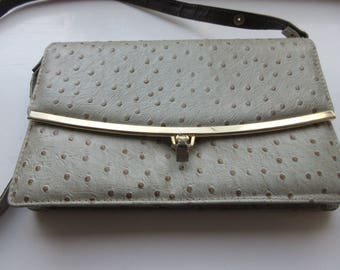 BEAUTIFUL 1970's Grey Ostrichskin Handbag With Long Strap - Lovely!!