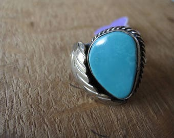Alpaca Silver Southwestern Feather Turquoise Ring 5.75 (1140)