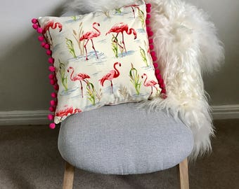 Flamingo Cushion Pom Pom