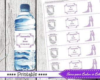 Wedding Water Bottle Label Wrappers - Wedding - printable wedding - printable label -  printable water bottle - digital printable