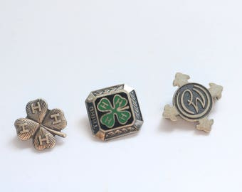 Tiny Sterling Brooches - Sterling Leaf Clover brooch - 4 H Pin