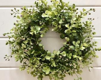 Farmhouse Style Faux Greenery Wreath | Eucalyptus Wreath | Fixer Upper Style | Boxwood Wreath