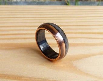carbon fiber & copper ring wedding band