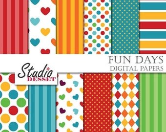 SUMMER SALE - 55% OFF Kids Digital Papers, Colorful  Backgrounds for Children, Scrapbook supplies for Personal and Commercial Use