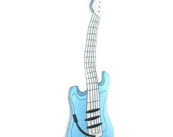 Electric Guitar Plush Toy 23.6 Inch Length, Plush Pillow Toy, Blue