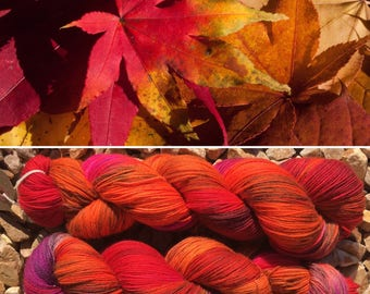 Autumn is Here Miniskein, 20g indie dyed merino nylon sock yarn