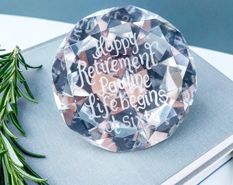 Personalised Crystal Paperweight | Customised Diamond-Shaped Crystal | Romantic Gift | Proposal Gift | Engagement Gift | Gift for Fiance