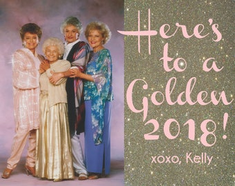 Set of 10 Personalized Golden Girls New Years Cards with envelopes