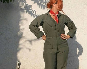 Vintage Army Green Flight Suit Coverall Pantsuit Size Medium