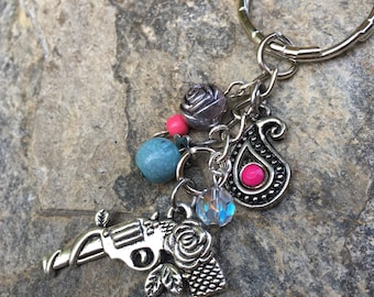 beaded keychain pistol keychain rose charm key chain pink blue keychain girls guns sparkly keychain gift for her key ring ladies key chain