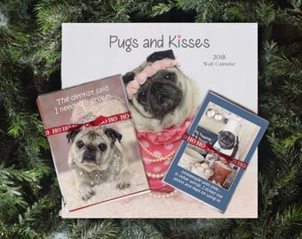 GIFT Pack 3 - The Riley - 1 Cal 10 Cards 10 Magnets Gift Pack - Gifts for Pug Lovers - by Pugs and Kisses