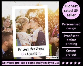 Personalised + printed selfie photo booth prop frame! Perfect for Weddings, Birthdays, Anniversaries, Hen parties and any other event!