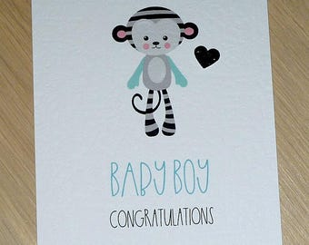 Baby Boy card - congratulations card - monkey - gorgeous!!! - new baby congrats card - handmade greeting card