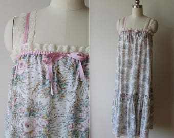 60's Hippie ruffled peasant dress watercolor floral with lace and satin ribbons Crantex fabric  size small/medium