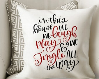 Jingle All the Way Pillow Cover - Christmas Home Decor - Christmas Party Decor