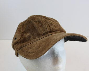 Wilson Leather cap hat vintage strap all leather brown