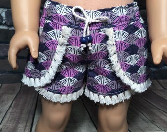 Fits 18 inch dolls such as American Girl-  dolphin shorts-  pattern with tassels