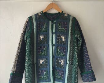 One-of-a-kind Gorgeous 1980's Handmade Arts & Crafts Quilted Cotton Jacket / Blazer with Pockets - XS / S