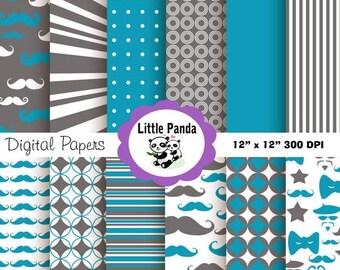 60% OFF SALE Little Man Digital Paper Pack, Scrapbook Papers, 12 jpg files 12 x 12 - Instant Download - D99