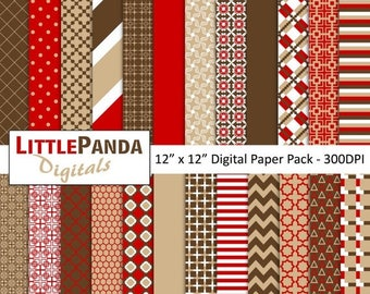 60% OFF SALE Tan Red Brown Digital Paper Pack 24 jpg files 12 x 12  - Instant Download - D357