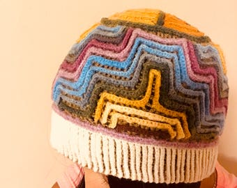 Colorful sheep wool hat
