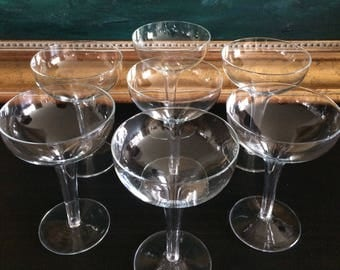 Set of 7 Matching Mid-Century Hollow Stem Champagne Coupe Glasses Large