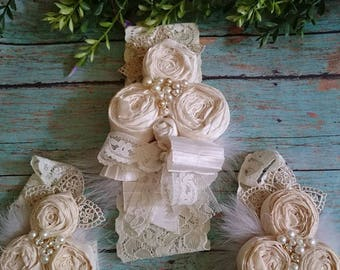 baby headband and barefoot set   especial  Ocassion Bautism elegant accesories